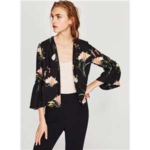 Floral Printed Flare Sleeve Coats