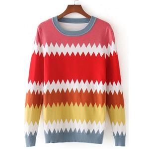 round Neck Long Sleeve Color Splicing Sweaters
