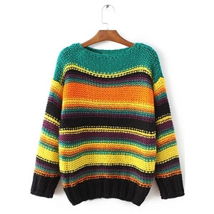 Long Sleeve Color Block Sweaters