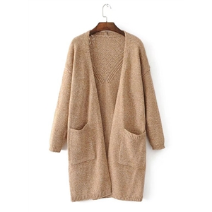 Casual V Neck Long Sleeve Solid Cardigans