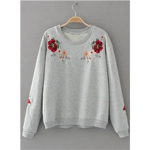 Round Neck Floral Embroidery Sweatshirts