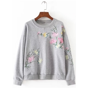 Round Neck Long Sleeve Floaral Embroidery Sweatshirts