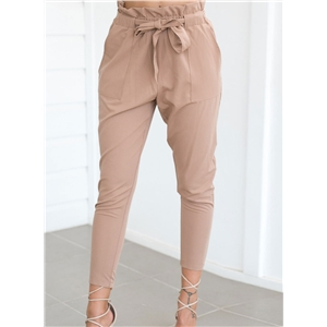 Slim Solid Belt Decoration Pants