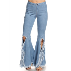 Broken Hole Tassels Denim Pants