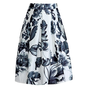 Vintage Floral Pleated Midi Skirt