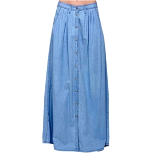High Waist Single Button A Line Denim Maxi Skirt