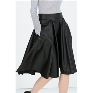 Classic Pu Leather Pleated High Waist Skirt