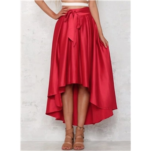 Elegant High Low Hem Solid Swing Skirt