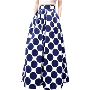 Color Block Polka Dot Print High Waist Skirt