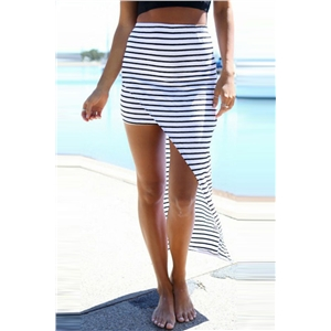 Black White Striped Print High-Low Skirt