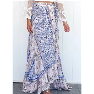 Womens Bohemian Tie Waist High Slit Irregualr Skirt