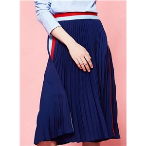 Fashion Color Block A-line Pleated Skirt