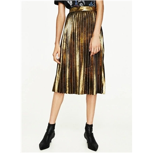 Fashion Metallic Sparkle Pleated Midi Skirt