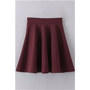 Classic Solid Color High Waist A-line Skirt