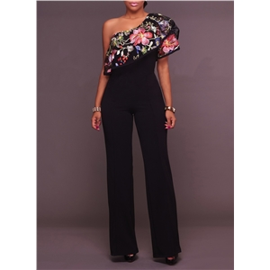 One Shoulder Flounce Hem Wide Leg Jumpsuits