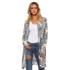 Fashion Long Sleeve Camo Printed Open front Cardigan