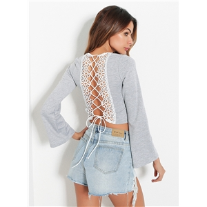 V Neck Flare Sleeve Back Lace up Hollow out Crop Top