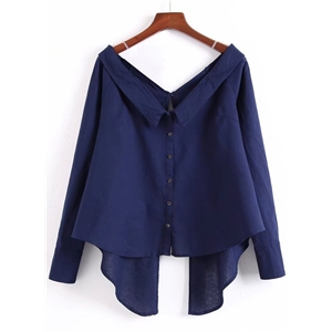 V Neck Long Sleeve Button Down Solid Shirt