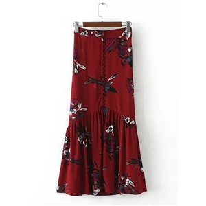 Fashion High Slit Floral Printed Maxi Skirt