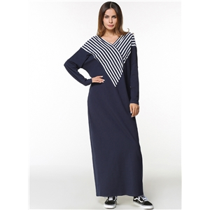 V Neck Batwing Sleeve Striped Splicing Maxi Dress