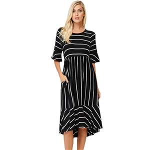 Round Neck Flare Sleeve Striped Printed Asymmetric Dress