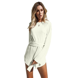 Long Sleeve Backless Romper with Belt