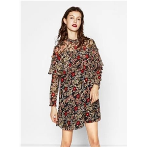 Fashion Long Sleeve Floral Ruffle Dress