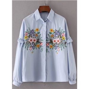 Turn Down Collar Long Sleeve Floral Embroidery Shirt