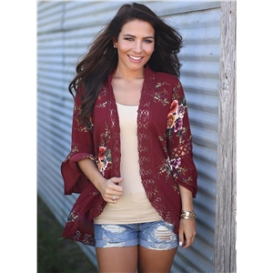 Flare Sleeve Lace Panel Hollow out Floral Print Kimono
