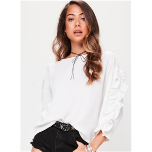 Agaric Lace Solid Color Round Neck Long Sleeve Tee Shirt