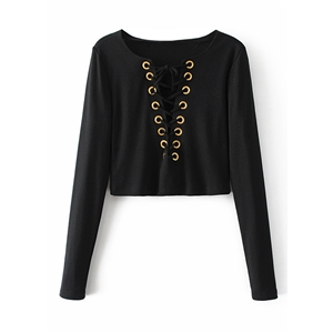 V Neck Lace Up Solid Top