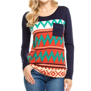 Round Neck Long Sleeve Geometric Print Knit Tee Shirt