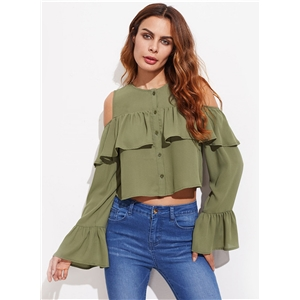 Round Neck Flounce Hem Button Down Blouse
