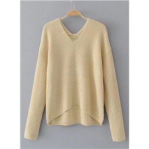 V Neck Long Sleeve Solid Color Sweater