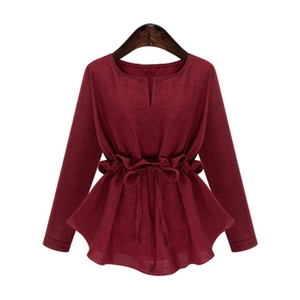 Round Neck Long Sleeve Solid Color Tee Shirt