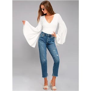 V Neck Flare Sleeve Solid Color Blouse