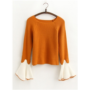 Round Neck Flare Sleeve Color Block Sweater
