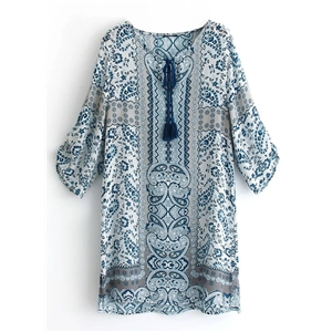 V Neck Three Quarter Length Sleeve Blue Floral Printed Dress