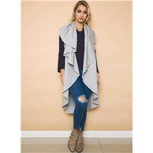 Solid Color Sleeveless Open front Irregular Long Vest