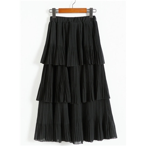 High Waist Layered Pleated A-line Chiffon Skirt