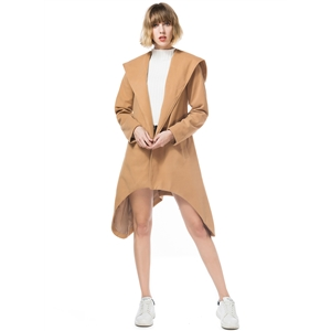 Hooded Long Sleeve Solid Asymmetric Coat