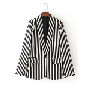Turn Down Collar Long Sleeve Striped Coat