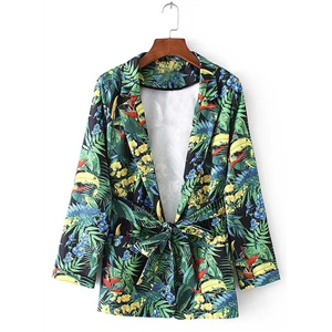 Turn Down Collar Floral Printed Coat