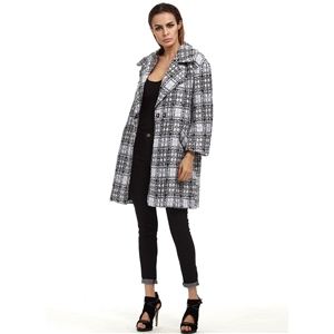 Turn Down Collar Long Sleeve Plaid Coat