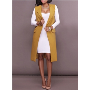 Fashion Open front Longline Solid Vest Outerwear