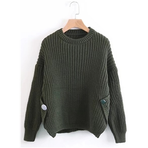 Round Neck Long Sleeve Solid Color Sweater