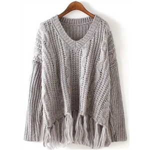 V Neck Long Sleeve Solid Tassels Decoration Sweater