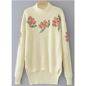 Half Collar Long Sleeve Floral Embroidery Sweater