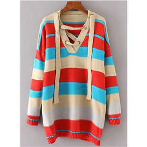 V Neck Lace-up Color Block Pullover Sweater