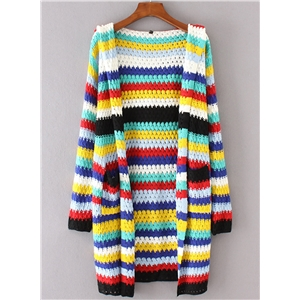 Fashion Striped Open front Hooded Cardigan